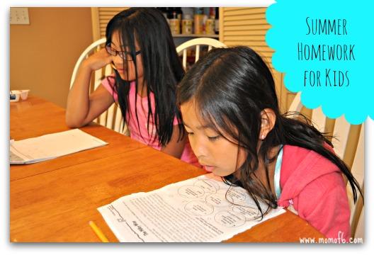 summer homework for kids at orgjunkie.com