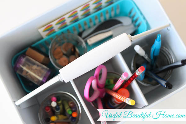 Organized homeschool caddy, use what you already have!