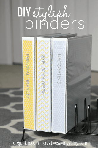 DIY Stylish Binders at I'm an Organizing Junkie blog