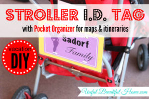 Stroller ID with pocket to organize itineraries and maps