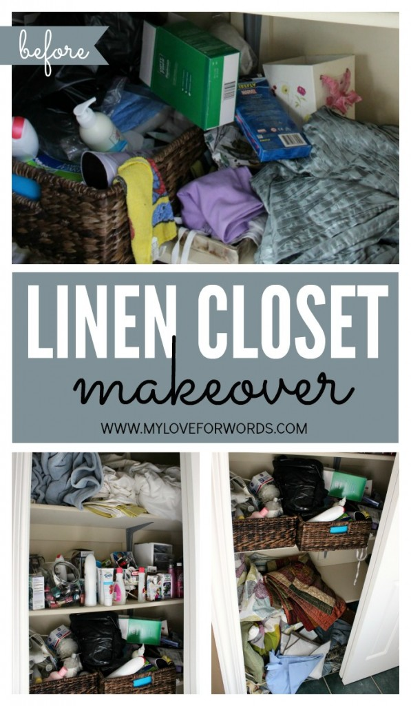 Terrific before and after linen closet makeover at I'm an Organizing Junkie blog