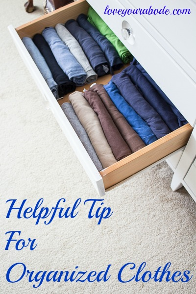 Helpful tip for organized clothes so you can see what you have