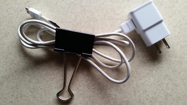 Use a bulldog clip for cords