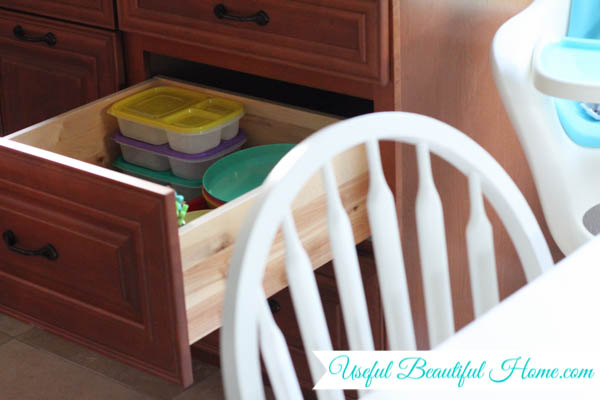Like I Said, My Girlsu0027 Space Is A Single, Deep Drawer Close To The Kitchen  Table. I Loaded It With Colorful Melamine And Plastic Dishes Of All Sizes.