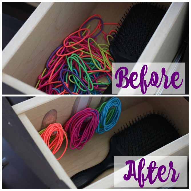 Easy and efficient tip for organized ponytail holders at I'm an Organizing Junkie