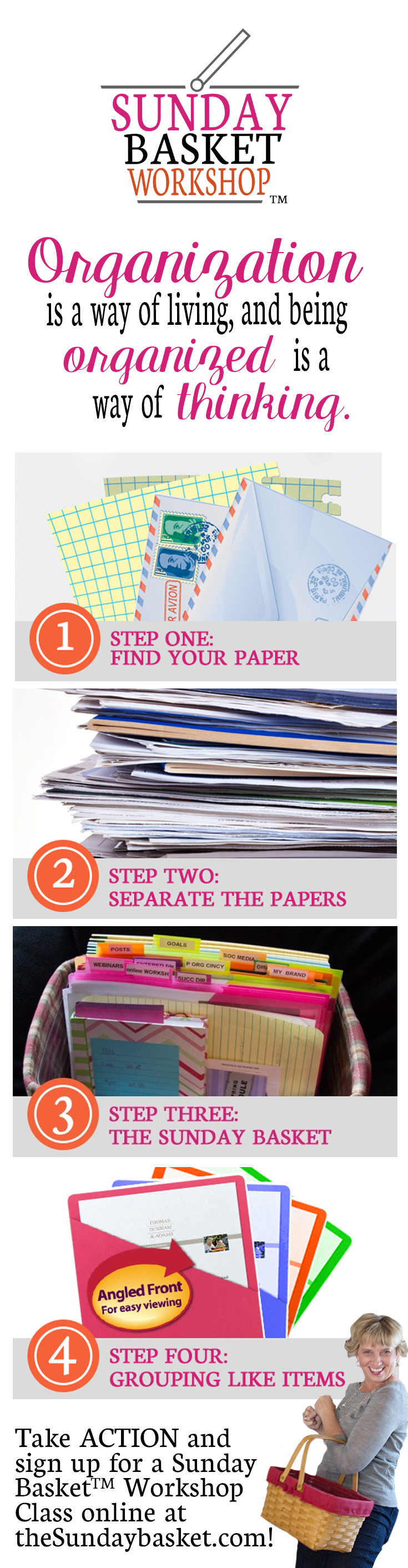Paper Organization 101 - the Sunday Basket to get your papers organized! at I'm an Organizing Junkie blog