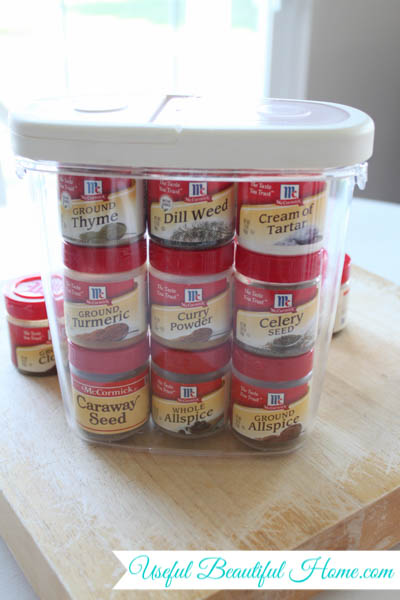 Small Space Storage Solution for Spices at I'm an Organizing Junkie blog