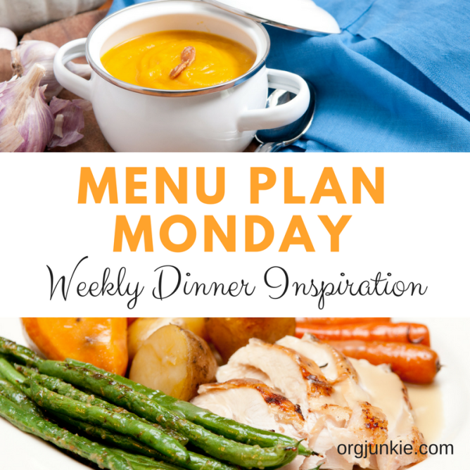 Menu Plan Monday for the week of Oct 23/17 - weekly dinner inspiration to help you get dinner on the table with less stress and chaos
