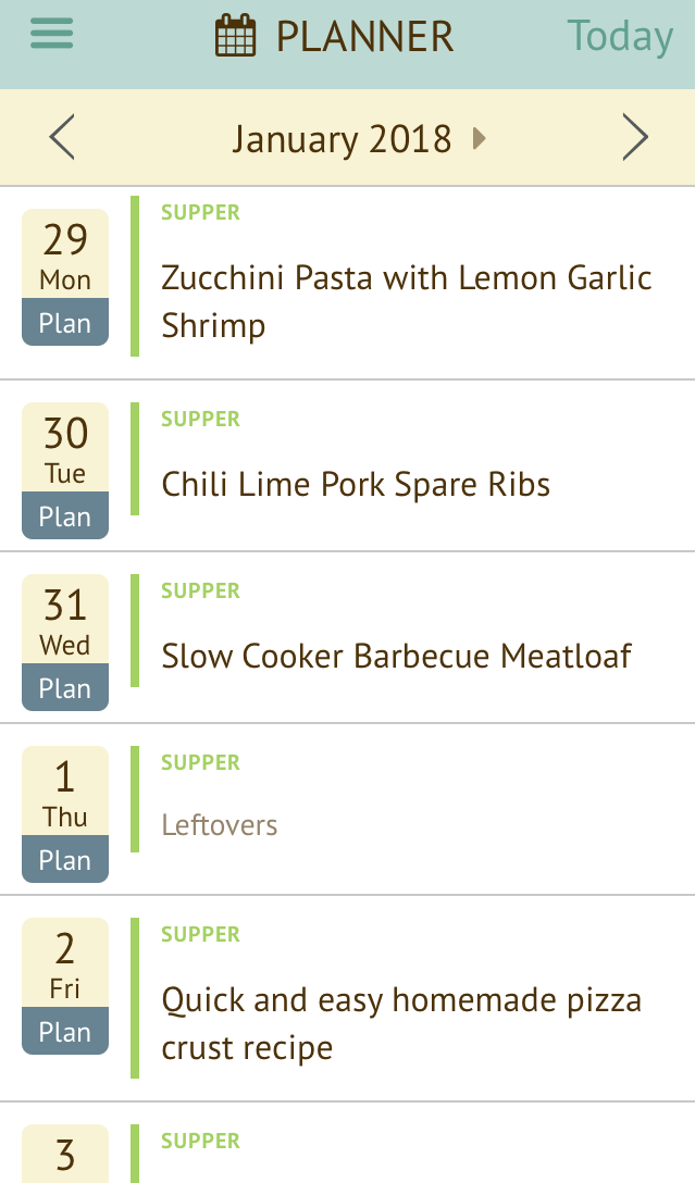 Plan to Eat menu planning app