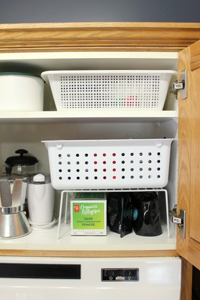 Small Organized Spaces: Coffee Cabinet at Im an Organizing Junkie blog