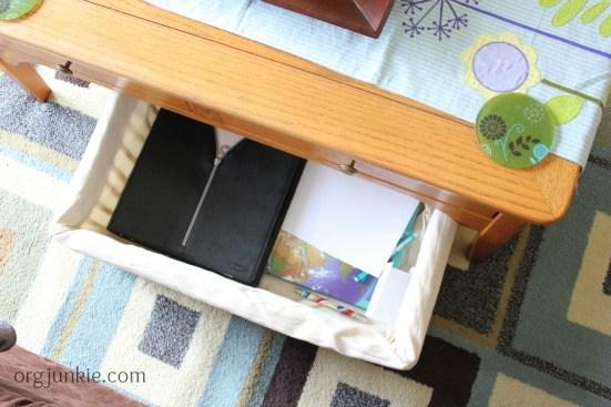 coffee table basket homeschool supplies