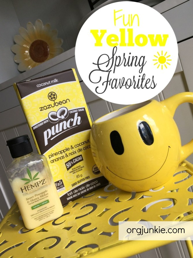 Fun Yellow Spring Favorites I'm Loving on Right Now at I'm an Organizing Junkie blog