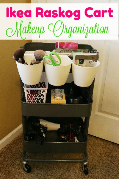 Ikea Raskog Cart Makeup Organization at I'm an Organizing Junkie blog