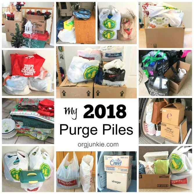 Letting go of stuff: my 2018 purge piles to help motivate and inspire you to do the same at I'm an Organizing Junkie!