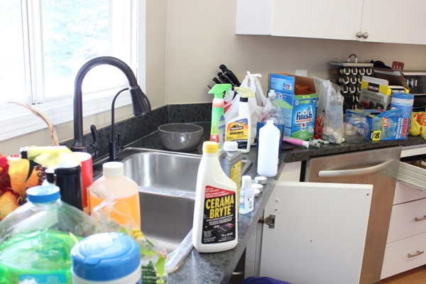 Organizing Underneath the Kitchen Sink on a Budget! on creative bathroom storage ideas under the sink, organizing bathroom, organize under your sink, organizing under bed, tension rod under sink, coffee can for bags under sink,