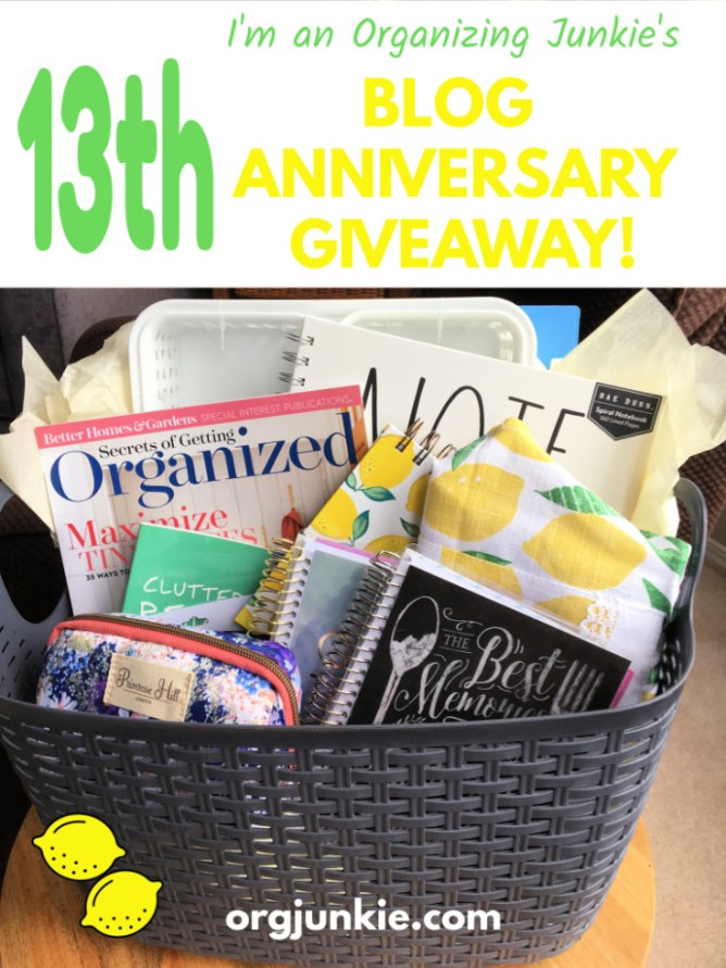 13th Year Blog Anniversary Giveaway! at I'm an Organizing Junkie blog