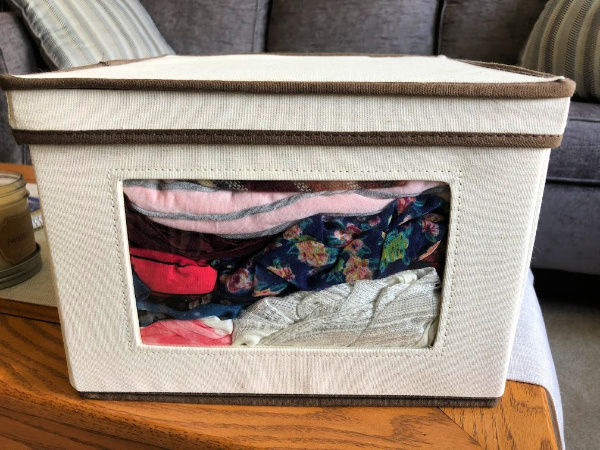 Closet storage bins with window