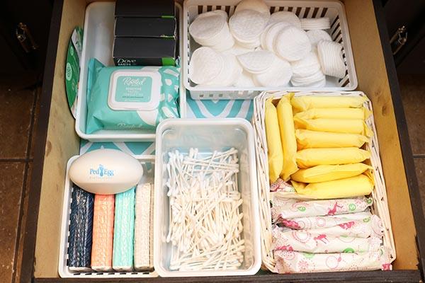 Bathroom drawer organized