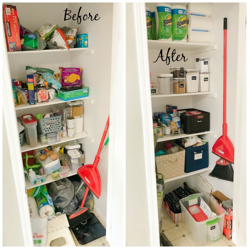 Before and After Closet Pantry Organization with Zero Dollars Spent!