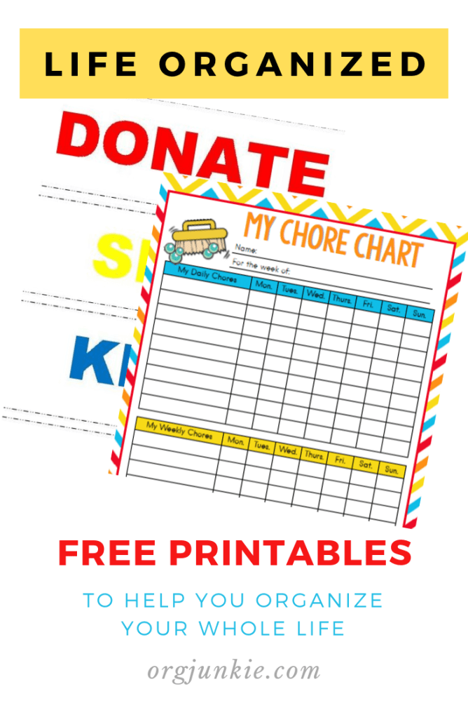 Free Printables at I'm an Organizing Junkie blog