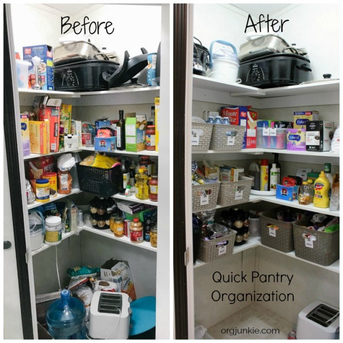 An Organized Kitchen Pantry Makeover before and after