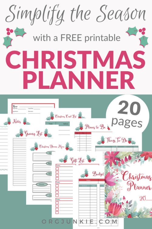 Simplify the Season with a Free Printable Christmas Planner at I'm an Organizing Junkie blog