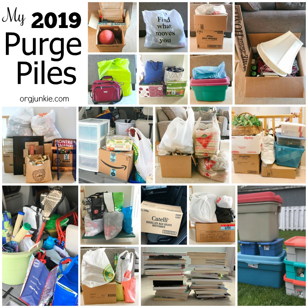 My 2019 Purge Piles ~ Will 2020 be your year to curb your clutter? at I'm an Organizing Junkie blog