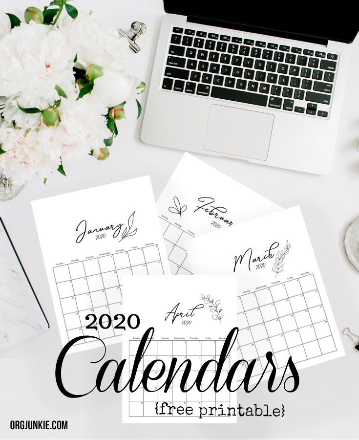 Free Printable 2020 Calendars at I'm an Organizing Junkie blog
