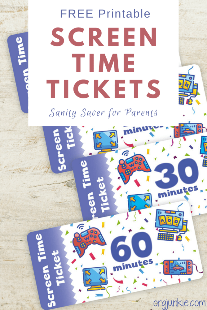 Sanity Saver: Free Printable Screen Time Tickets at I'm an Organizing Junkie blog