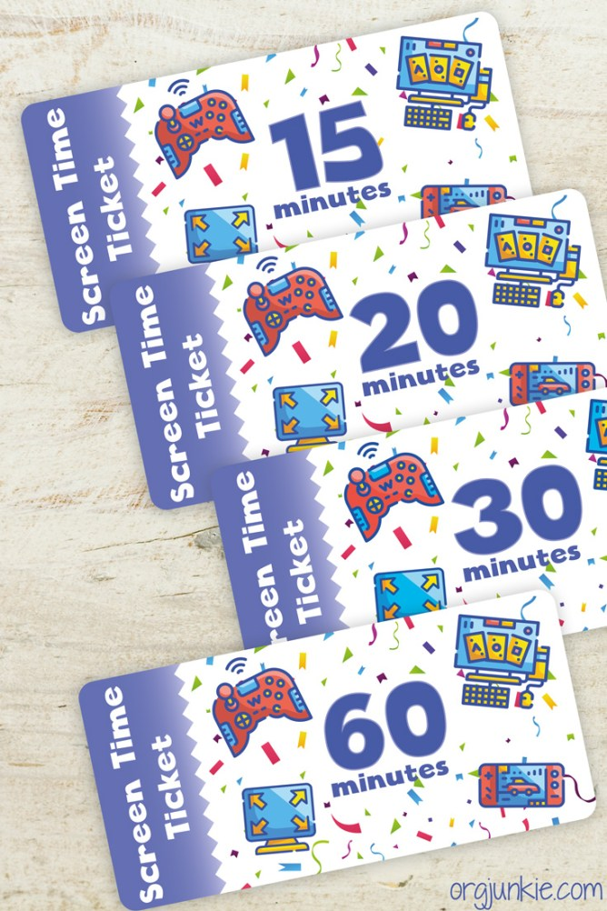 Free printable Screen Time Tickets