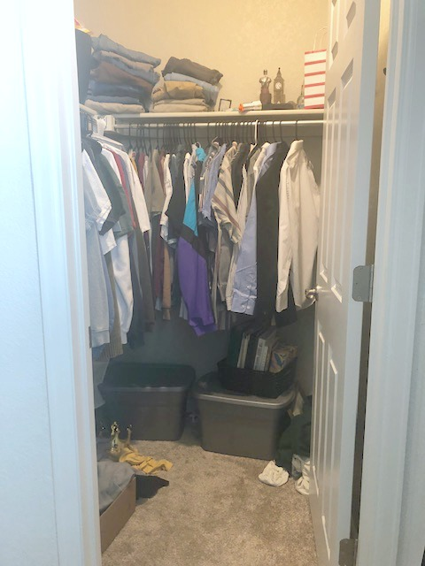closet organizing before