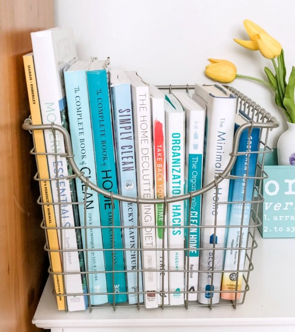 the simplicity of organized books in a basket
