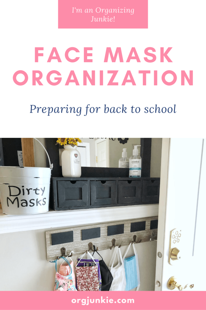 Preparing for Back to School ~ Face Mask Organization at I'm an Organizing Junkie blog