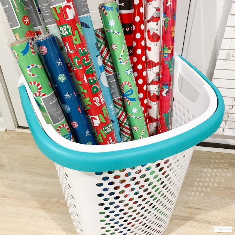 Super Simple & Inexpensive Christmas Wrap Organization