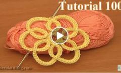 How to Crochet Simple Flat Flower Tutorial 100