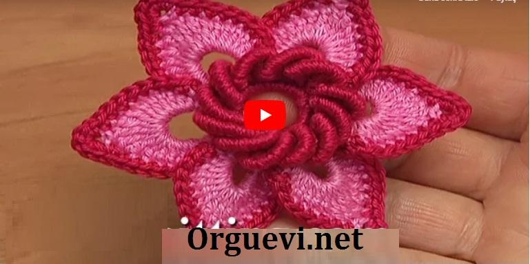kroşe çift katmanlı çiçek – crochet double layer flower