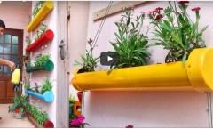 Küçük Bahçe ve Balkon için Plastik Borulardan Çiçeklik