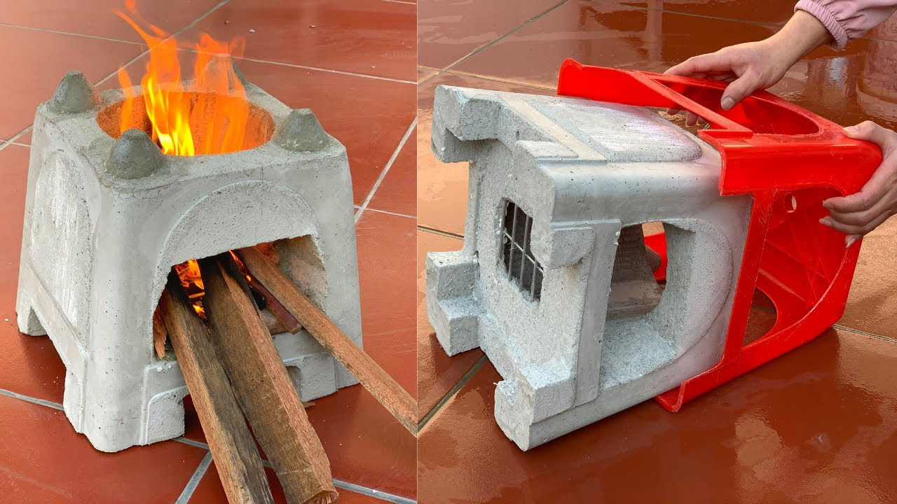 Creative Firewood Stove From Plastic Chairs – Self-Made Ideas From Cement