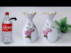 Plastic bottle flower vase making – Look like ceramic vase