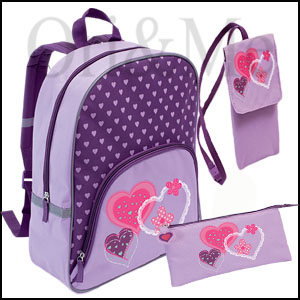 Hearts and Flowers Backpack , Pencil Case & Pouch