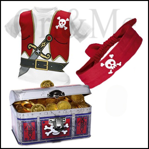 Pirate T-shirt, Pirate Bandana and Pirate Money Bank Chest