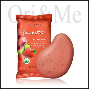 Love Nature Soap Bar with Exfoliating Strawberry & Lime
