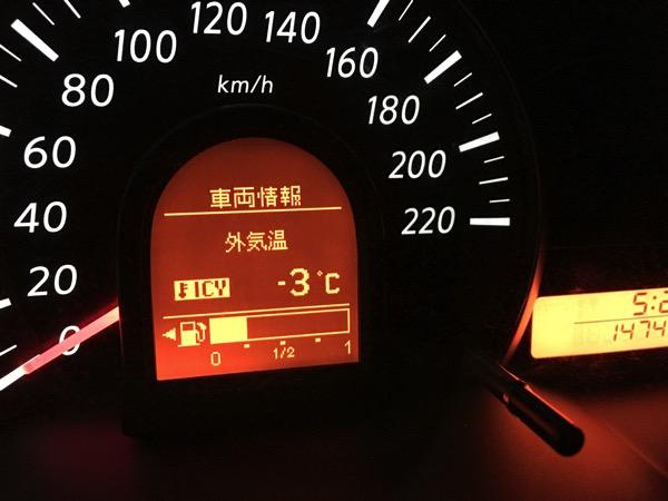 マイナス3度の気温計