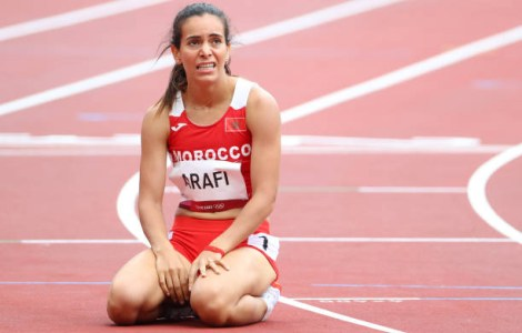 TOKYO, JAPAN - JULY 30: Rababe Arafi of Team Morocco reacts after competing in round one of the Women's 800 meters on day seven of the Tokyo 2020 Olympic Games at Olympic Stadium on July 30, 2021 in Tokyo, Japan. (Photo by Abbie Parr/Getty Images)