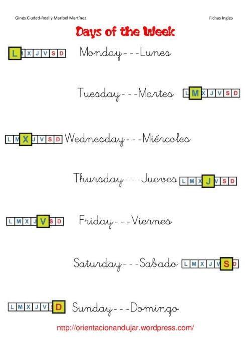 days of de week