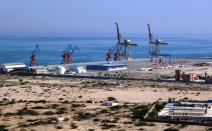 This photograph taken on February 12, 2013 shows the construction site at Gwadar port in the Arabian Sea. (AFP Photo / Behram Baloch)