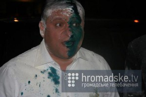 Another Ukraine's presidential candidate Mikhailo Dobkin was assaulted on April 14, 2014.