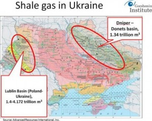 A map of shale gas reserve basins in Ukraine discloses the reason behind Kiev's fiery military actions against Novorossia.