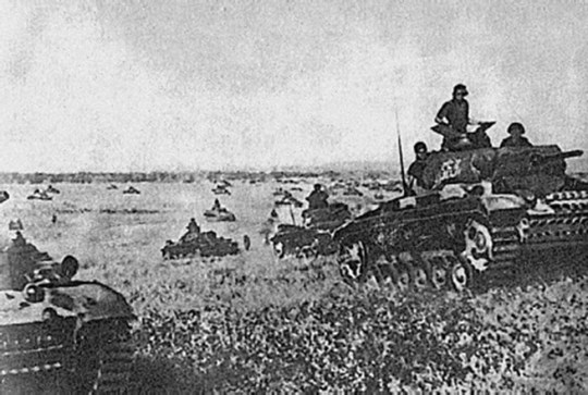German tanks in France. Neither Paris nor London expected Hitler to risk a real strike at the West. Which explains why they went down so quickly.