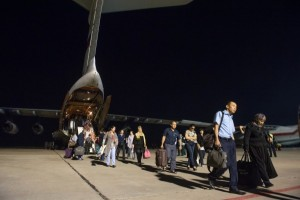 Refugees from Yemen delivered by a Russian emergency flight to Moscow, July 2015